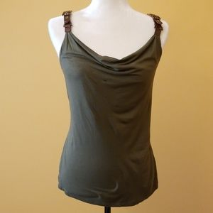 Cache  olive tank with leather buckle straps C303